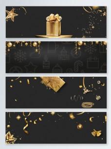 圣诞节黑金大气banner背景