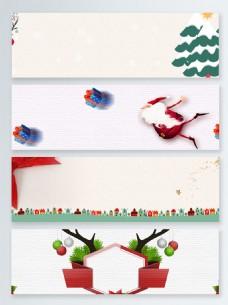 简约卡通扁平圣诞活动促销banner背景