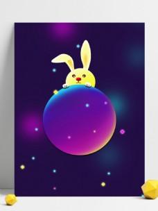 深蓝金秋月亮兔子中秋节背景素材