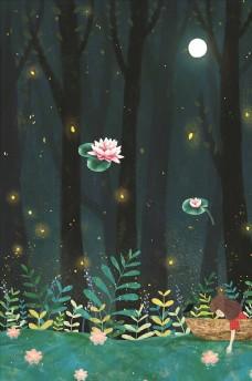 夜晚森林背景