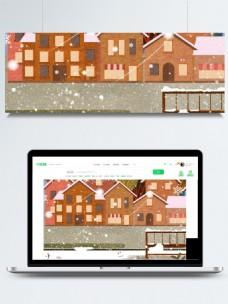 彩绘传统大雪节气背景设计
