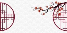 中国风水墨窗棱花枝海报背景