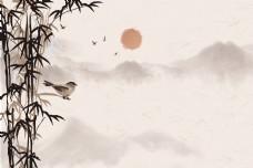 简约中国风水墨山水背景