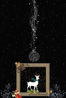 圣诞小鹿黑色背景怀旧相框淘宝背景H5背景