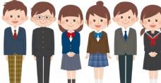 卡通学生穿校服矢量素材
