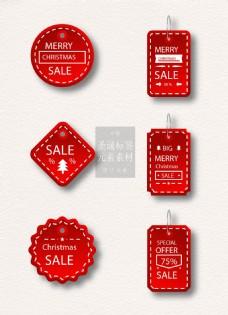 漂亮红色的圣诞节标签