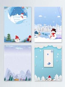 冬季雪人圣诞节快乐节日促销广告背景