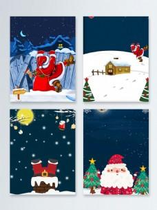 雪地扁平圣诞节快乐节日促销广告背景