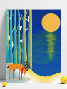 蓝色卡通风夜景树林背景