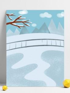 卡通冬至节气雪地背景
