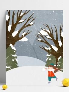 冬季雪地儿童女孩背景