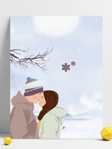彩绘大雪节气情侣背景