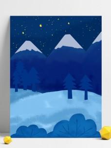 唯美冬季雪地树林背景