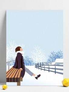 唯美冬季雪地女孩背景