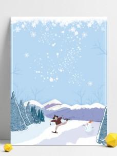 冬季雪地儿童划雪背景