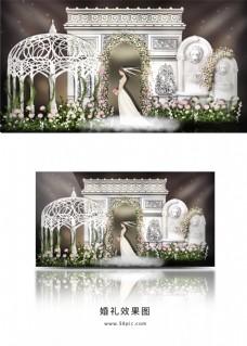 简约欧式建筑雕塑婚礼效果图