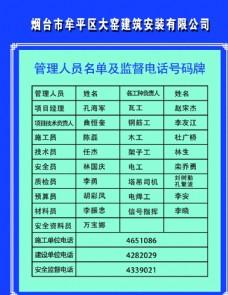 管理人员名单及监督电话号码牌