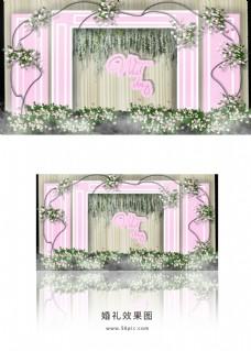 粉色简约婚礼迎宾区效果图