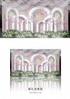 粉色梦幻婚礼迎宾区效果图