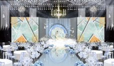 西式蓝白色清新素雅婚礼效果图
