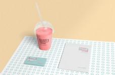 果汁店奶昔餐饮vi样机模板