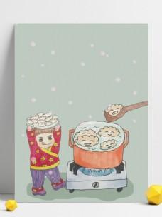 简约小雪煮饺子背景