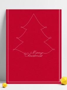手绘圣诞树大气红色背景