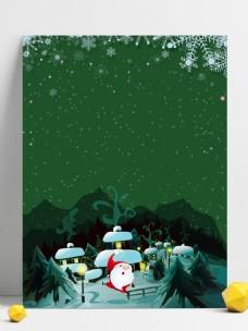绿色卡通圣诞雪花背景