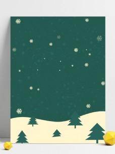 手绘清新圣诞节绿色背景
