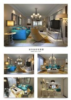 北欧风现代客厅设计效果图