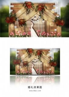 户外红色花艺三角架婚礼效果图