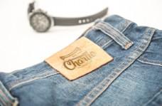 牛仔裤标签logo样机模板
