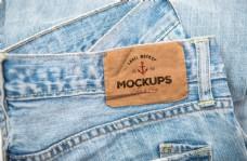 牛仔裤服饰标签样机模板