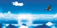 云海中飞翔的雄鹰 高清分层图