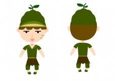 牛油果卡通水果人物素材小男孩