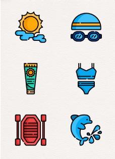 夏季旅游度假元素图标设计