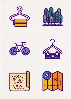 旅行度假元素卡通图标设计
