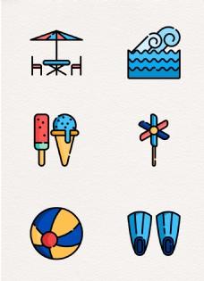 休闲度假元素mbe卡通可爱设计