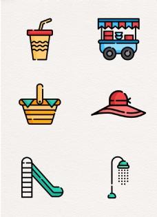 矢量度假野餐元素卡通设计