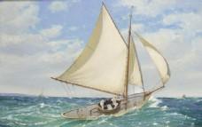 帆船大海油畫
