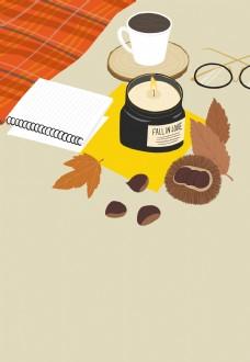 秋季咖啡枫叶背景设计