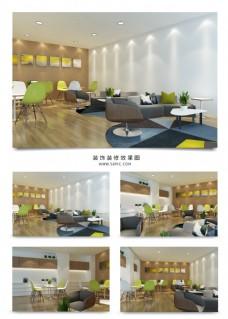 现代清新茶水间休闲室装修效果图
