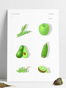 手绘简约健康蔬菜果蔬类透明底可商用素材