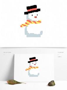 卡通圣诞雪人像素化设计