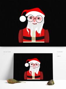 卡通带眼镜的圣诞老人复古肌理设计