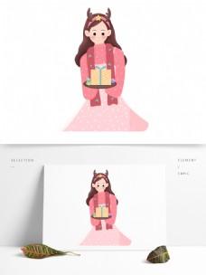 卡通拿着礼物的女孩圣诞节元素设计