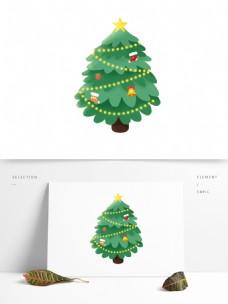 卡通手绘绿色圣诞树设计