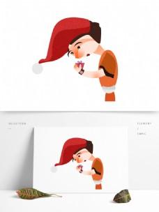 卡通圣诞节拿着礼物的女孩复古肌理设计