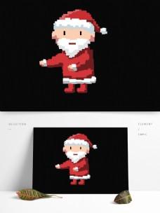 卡通圣诞老人像素化设计