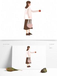 卡通拿着一袋苹果的女人